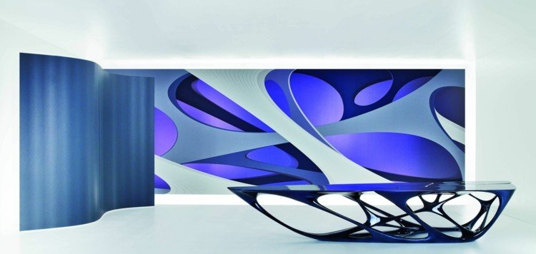 futuristic architecture poster muarl design table tangled lines