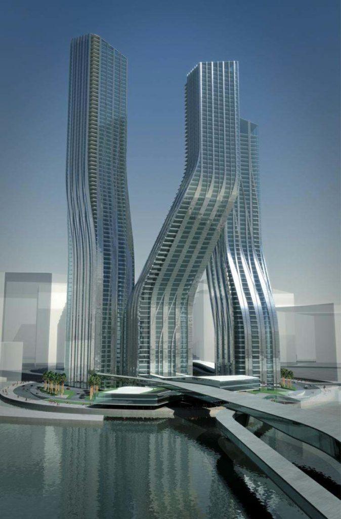 futuristic architecture zaha hadid dubal sky scraper optical effect