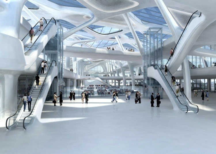 futuristic architecture zaha hadid zagreb interior ceiling design stairs