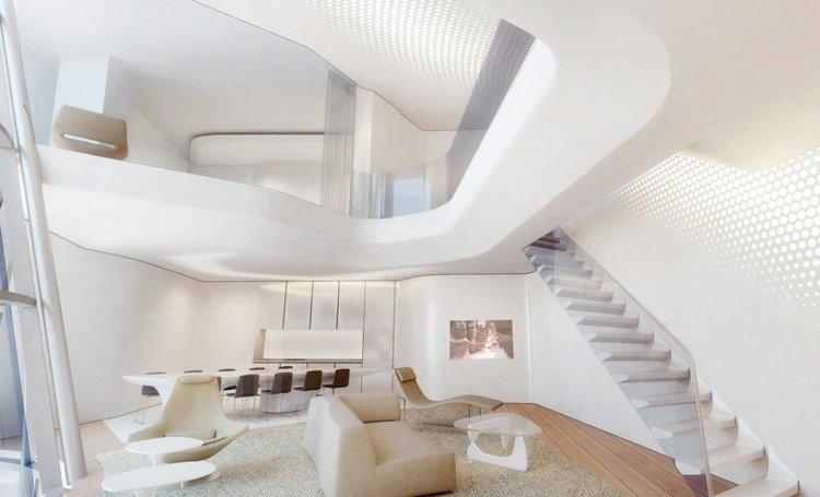 zaha hadid office tower dubai white interior futuristic architecture olympic pool london zaha hadid