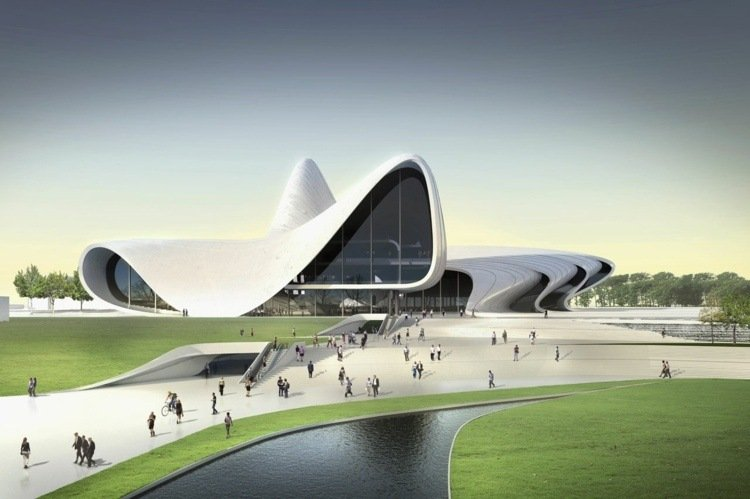 zaha hadid shopping mall innovative project curved lines broken shapes